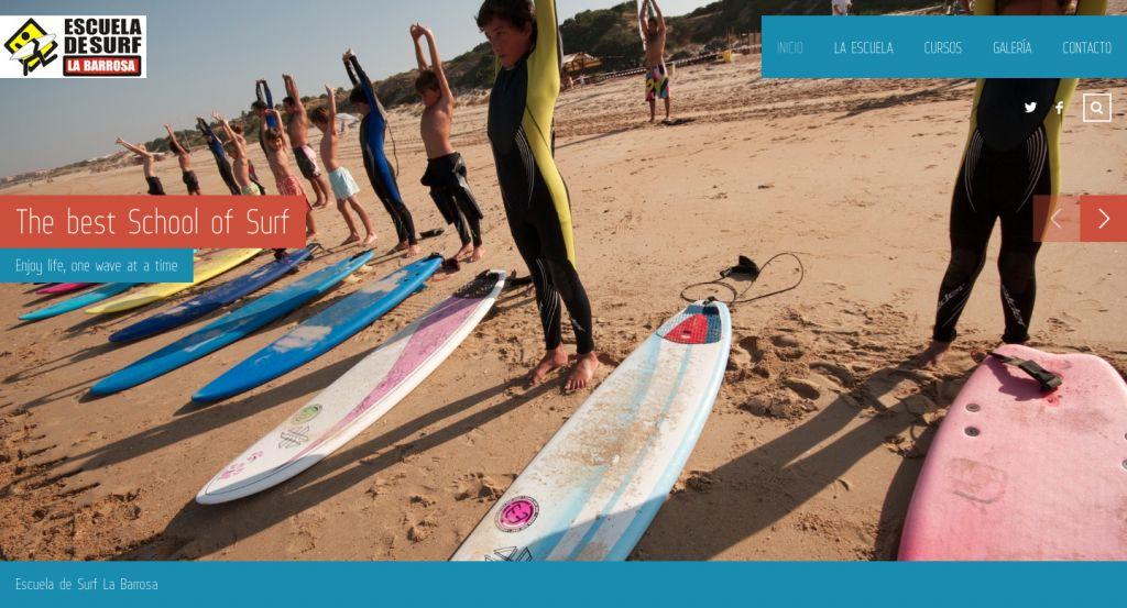 Página Web Escuela de Surf La Barrosa