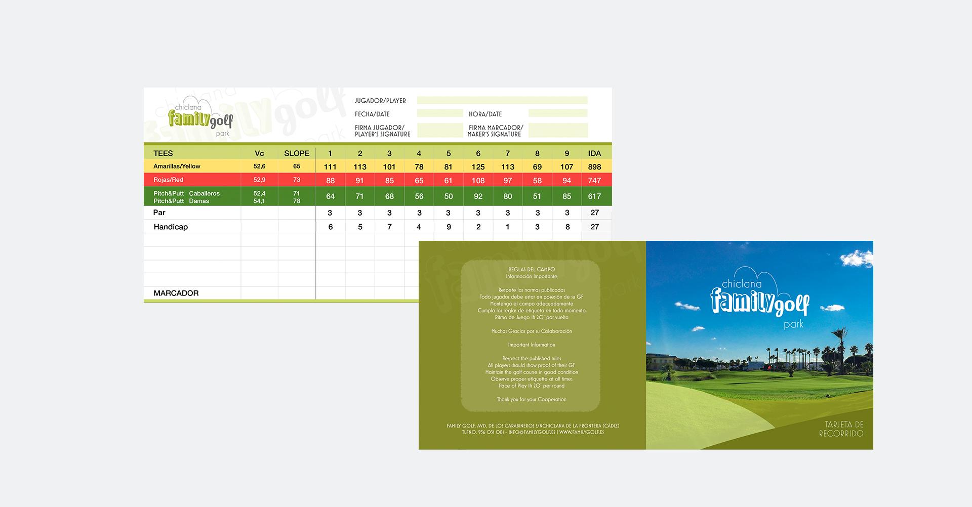 Family Golf - Tarjeta de recorrido
