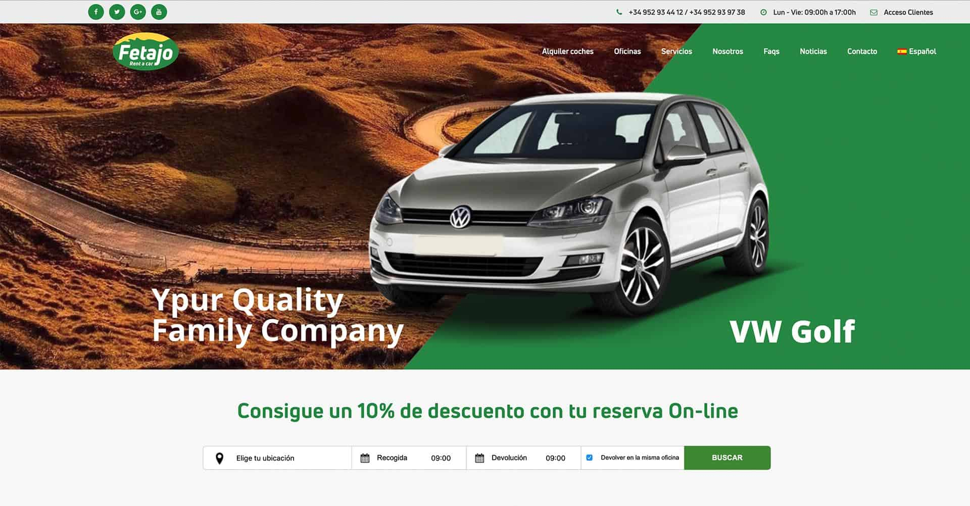 Página Web Fetajo Rent a Car